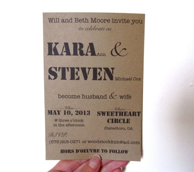 Wedding Postcard Invitations 4000 Via Etsy Tags Rustic Country Kraft Mixed Fonts