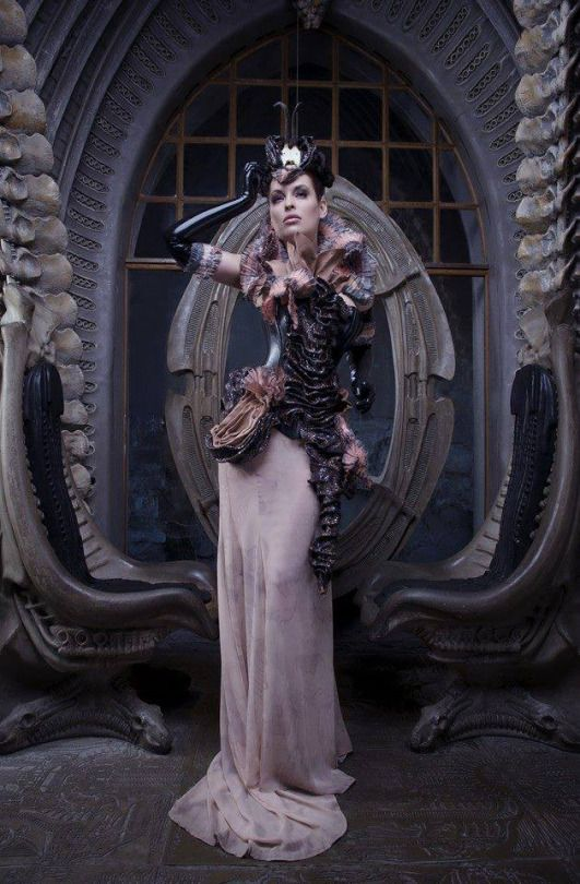 Model: Lisa Denise Photography: Annie Bertram Corset, skirt and styling: Bibian Blue Location: HR Giger bar Assistants: Patrick Crass and Gemma Codina