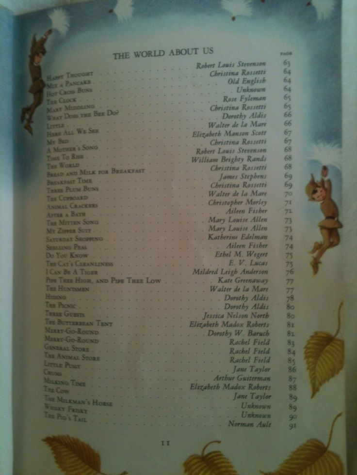 Table of Contents; page, 10 of Childcraft Encyclopedia Volume 1 1961 Edition Out-of-Print Mother Goose and Nursery Rhymes