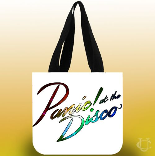 Sell Panic at the disco nebula logo white Tote Bags cheap and best quality. *100% money back guarantee