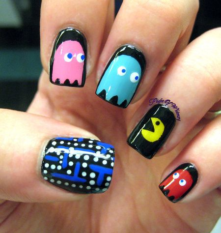 Pacman nails! #nails #games #nailart #polish #manicure - See more nail looks at bellashoot.com share your faves!