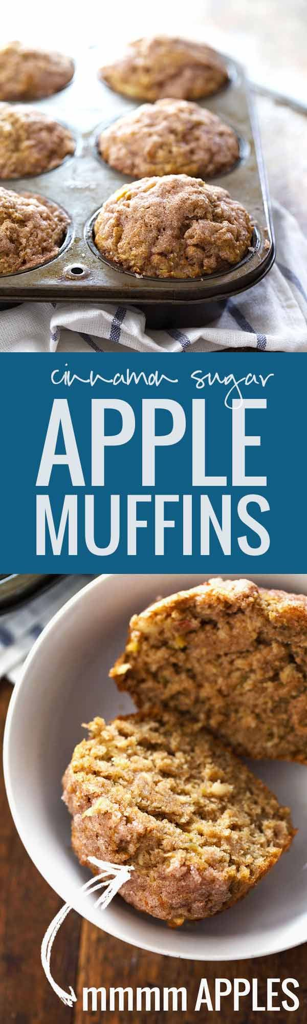 Healthy Cinnamon Sugar Apple Muffins - whole wheat, coconut oil, less sugar, and loaded with apple deliciousness! 230 calories. | pinchofyum.com