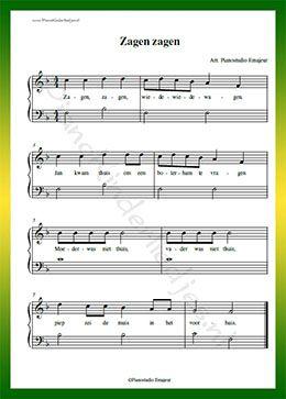 Zagen zagen wiede wiede wagen  - Gratis bladmuziek van kinderliedjes in eenvoudige zetting voor piano. Piano leren spelen met bekende liedjes.