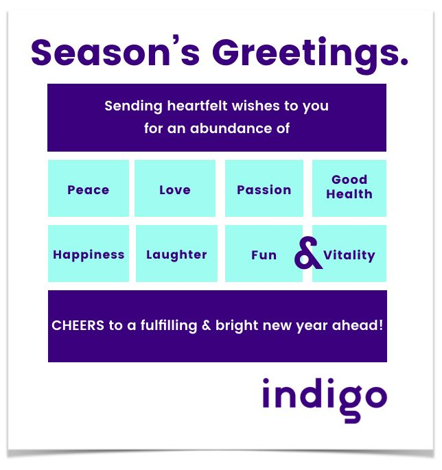 From all of us at Indigo... #seasonsgreetings #purpose