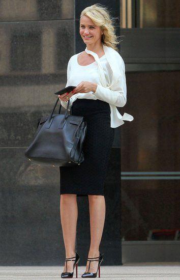 angelina jolie carrying Saint Laurent sac du jour in black ...