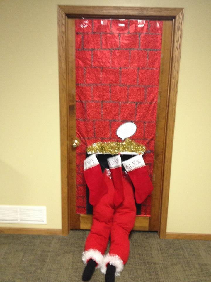 Santa Stuck In The Chimney Christmas Door Decorating