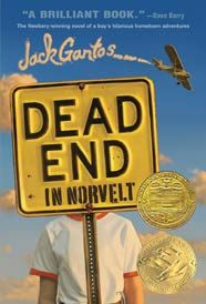 "Dead End in Norvelt by Jack Gantos. A kid named Jack Gantos, whose plans for vacation excitement are shot down when he is ""grounded for life"" by his feuding parents, and whose nose spews bad blood at every little shock he gets. But plenty of excitement (and shocks) are coming Jack's way once his mom loans him out to help a feisty old neighbor with a most unusual chore—typewriting obituaries filled with stories about the people who founded his utopian town."