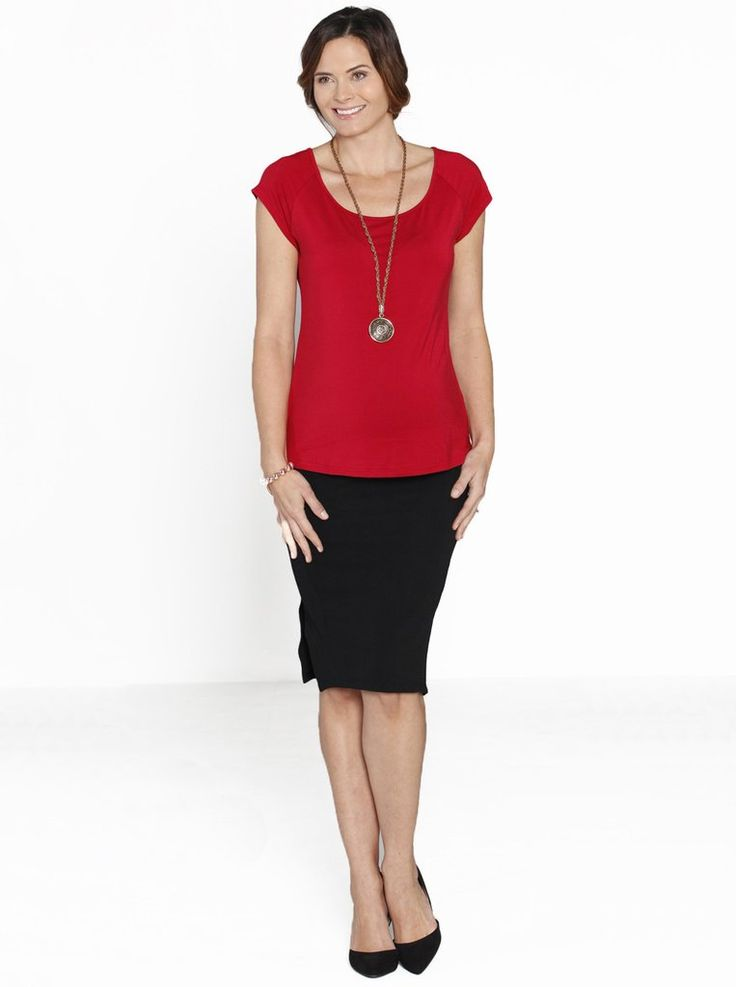 Lady in Red - Top & Skirt Work Outfit, $49.95.  RRP:$104.90, save more than 50%.  This stylish outfit is perfect for work with a Stretchy Solution Top in Red and a Textured Fitted High Waist Maternity Skirt in Black.