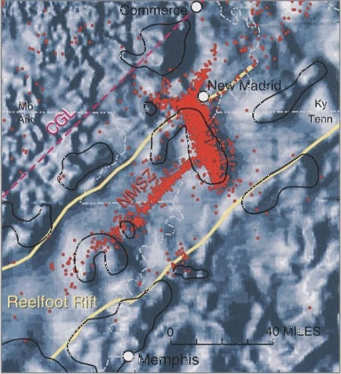 Kentucky Earthquake Map%0A Fig    Reelfoot Rift zone image mapped via magnetometer data with overlay  of thousands of