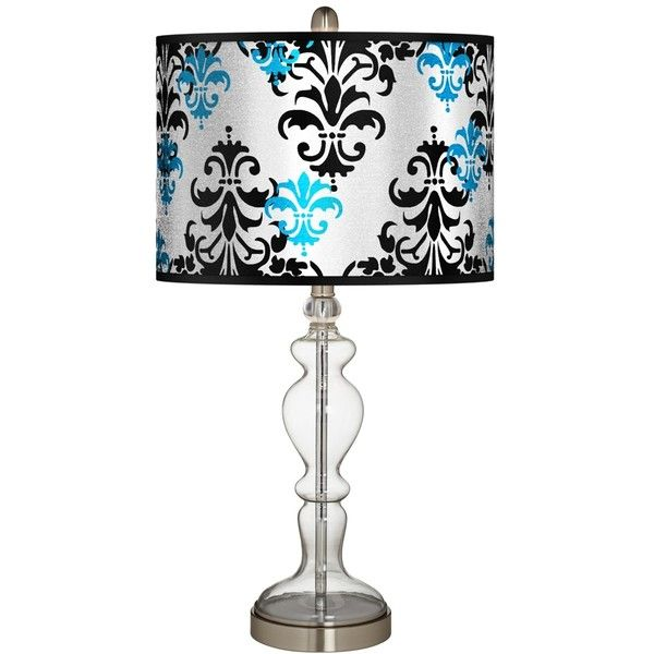 Damask Shadow Silver Metallic Apothecary Clear Glass Table Lamp ($110) ❤ liked on Polyvore featuring home, lighting, table lamps, blue, clear glass lamps, giclee gallery, clear glass table lamp, damask lamp and blue lights