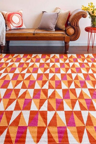 Tahiti, Fire - A vibrant orange, pink and natural white geometric design flatweave NZ wool rug.  Available to see in store now and available to order in the following sizes:  160 x 230, 200 x 290, 250 x 350