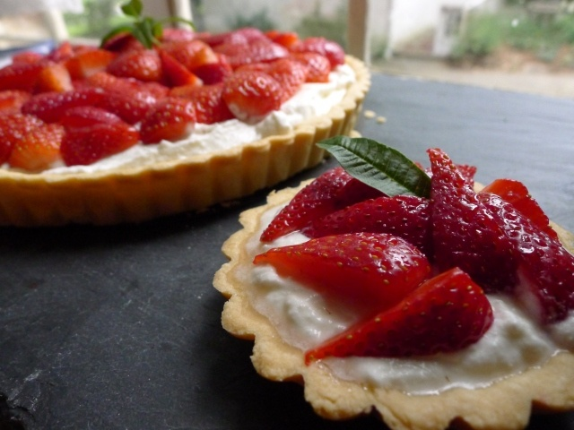 Strawberry Ricotta Tart with Lemon Verbena Essence