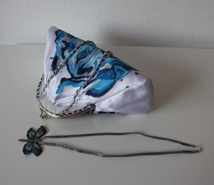Handmade purse and necklace by Renata Vespa. Beading, painting, originaly, luxury.