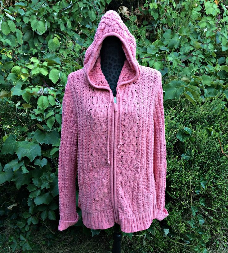 Pink Zip-Up Hooded Sweater / Womens Zip Up Hooded Sweater / Liz Claiborne Zip Up Hooded Sweater / Pink Cable Knit Zip Up Sweater - Size XL