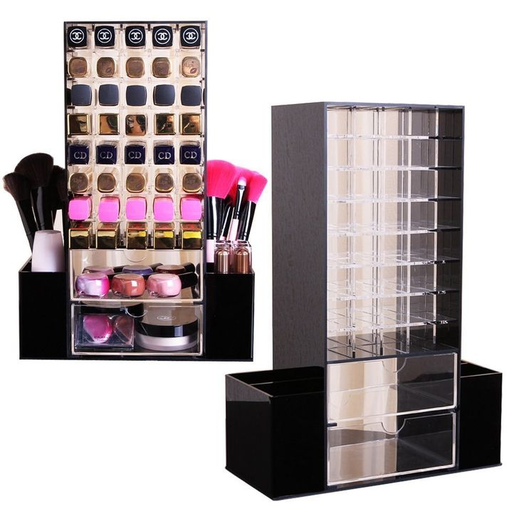 All in 1 Clear Premium Acrylic Lipstick , Makeup Brushes , Cosmetic Organizer Unit With Draws and Removable Side Compartment Rotating Holder (Black) *** To view further, visit now : Makeup organization