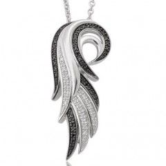 Eye Catchy Angel Wing Necklace with 1/5 ct Black and White Diamond