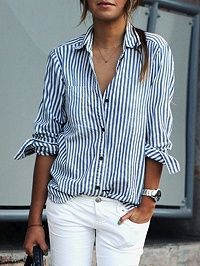 Blaue Streifen Taschendetail Langarm Bluse