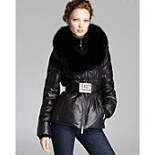 Guy Laroche for Maximilian Belted Down Jacket with Fox Fur Collar