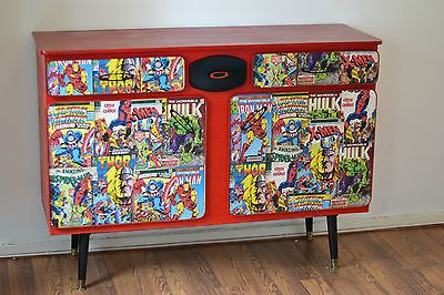 MARVEL Upcycled Vintage Furniture Cabinet Table Comic Super Hero Man Cave Red