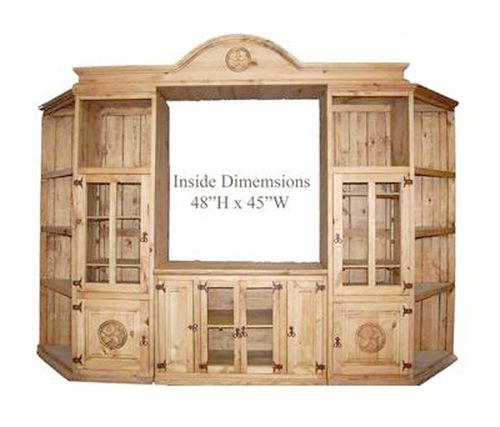 """4 PC Rustic Natural Wax 125"""""""" Entertainment Center with Stars"""
