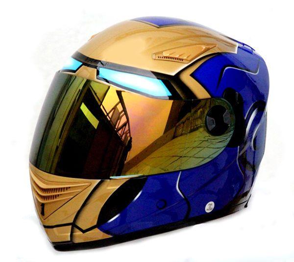 MASEI 830 IRON MAN DOT ECE MOTORCYCLE BIKE HELMET BLUE M L XL