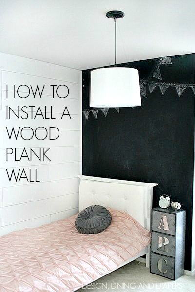 How to install a wood plank wall... Paint a couple coats before putting up so you do t have to do 4 coats on wall
