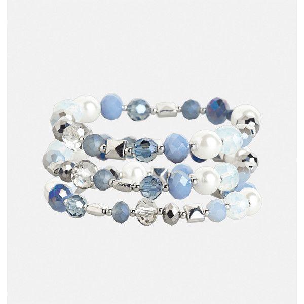 Avenue Blue Stretch Bracelet Set ($16) ❤ liked on Polyvore featuring jewelry, bracelets, blue, plus size, blue bangles, beaded bangles, stretch jewelry, bead jewellery and avenue jewelry