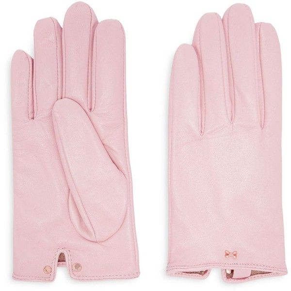 Ted Baker Bowsii Bow Detail Leather Glove ($90) ❤ liked on Polyvore featuring outerwear, jackets, light pink, 100 leather jacket, real leather jackets, ted baker jacket, ted baker and genuine leather jackets