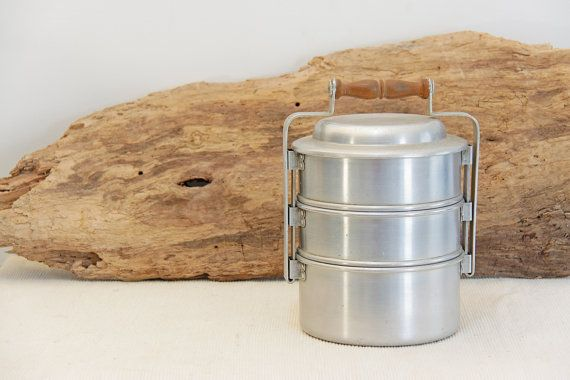 Vintage Aluminum Lunch Box Pail Tiffin Stacking Tiered by butanika