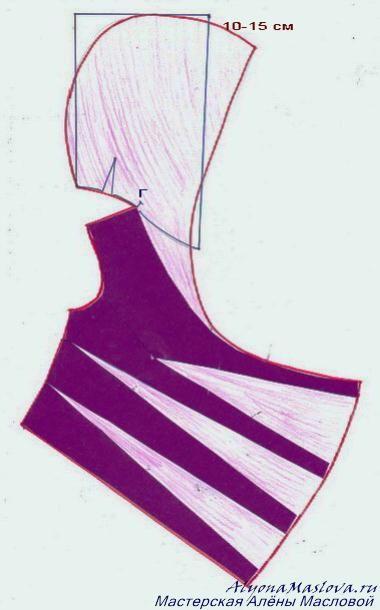 Построение капюшона для блузы с драпировкой в боковом шве.