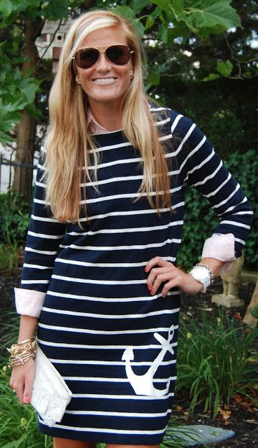 nautical stripes- I have this dress & I've done the layered look with a pink button up & riding boots! one of my favorite dresses!