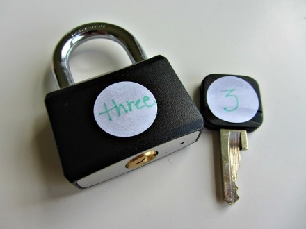 math activity for prek  I will change it by drawing the amount of dots on the lock instead of the number word. How fun!! eyfs-and-teaching
