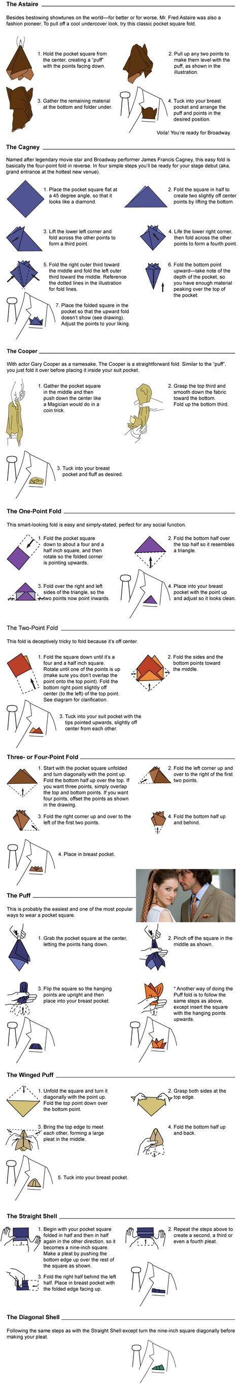 How to fold a pocket square by Belisi  -- If you haven't heard, men's pocket squares are all the rage. Think Fred Astaire meets the 21st century (without the top hat). Sounds cool, right? Now's the hard part: how in the world do you fold a pocket square?