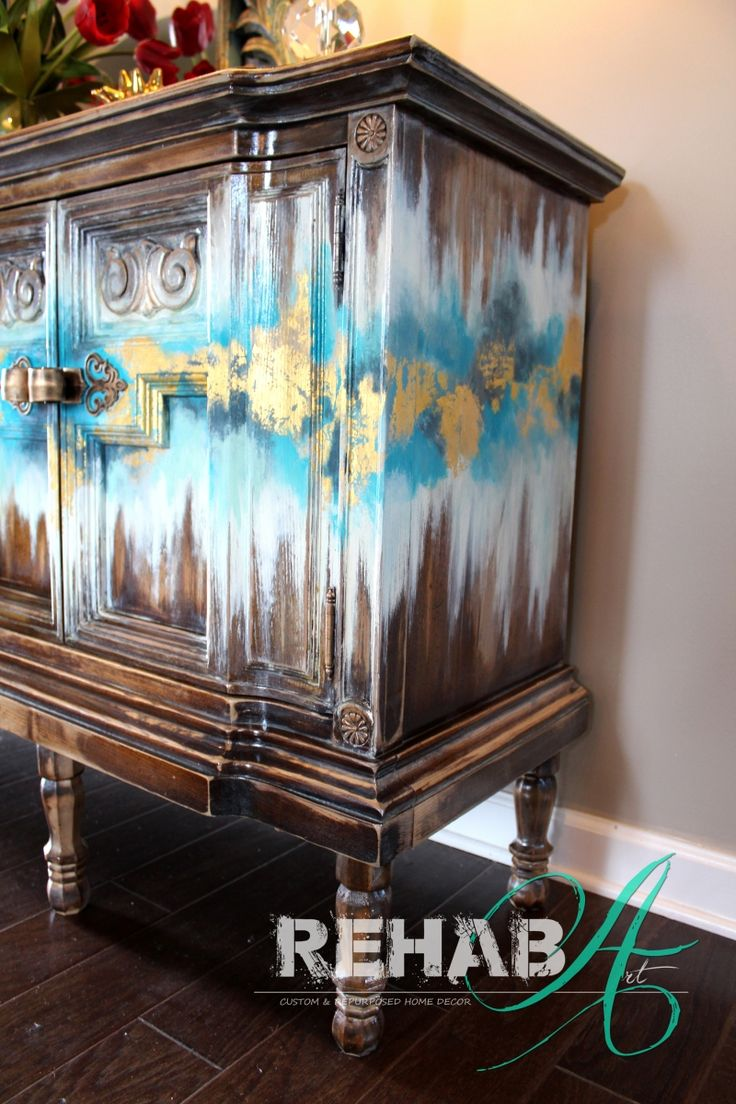 """Abstract Gold Leaf "" Credenza"