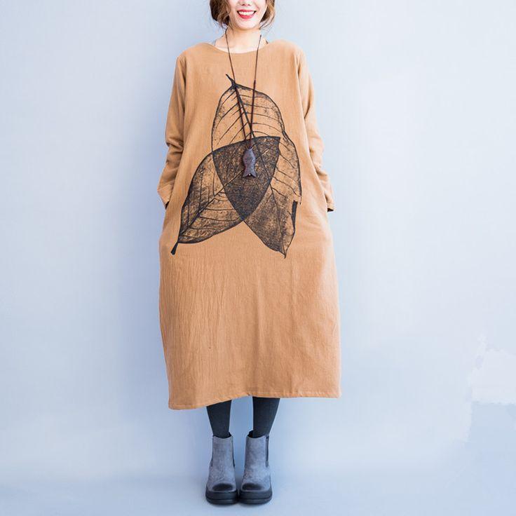 Women's autumn and winter thick long cotton dress - Tkdress - 7