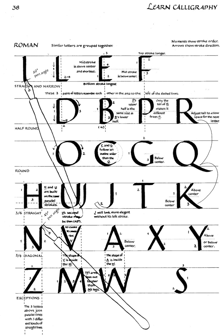 The Roman Alphabet explained for you: the ultimate map of the alphabet, from Margaret Shepherd's basic book Learn Calligraphy