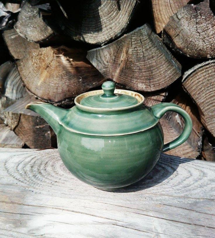 handmade stoneware teapot ... jade celadon Amaco USA