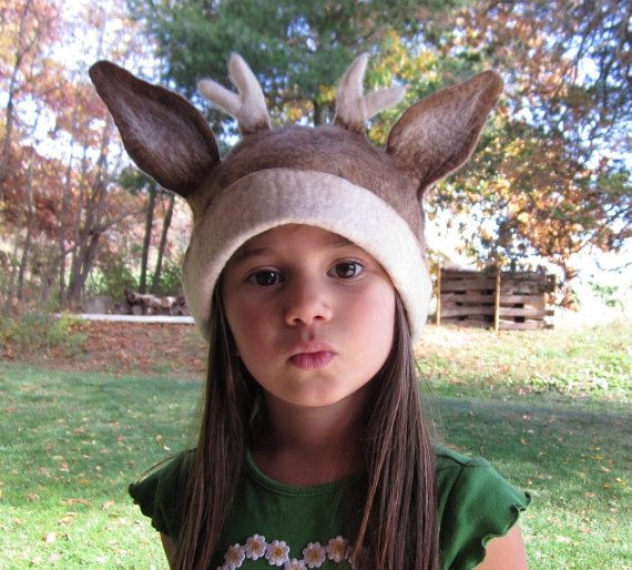 Deer Hat  /  Animal Kid Hat  Felted Wool Hat by lanadeflor on Etsy $42