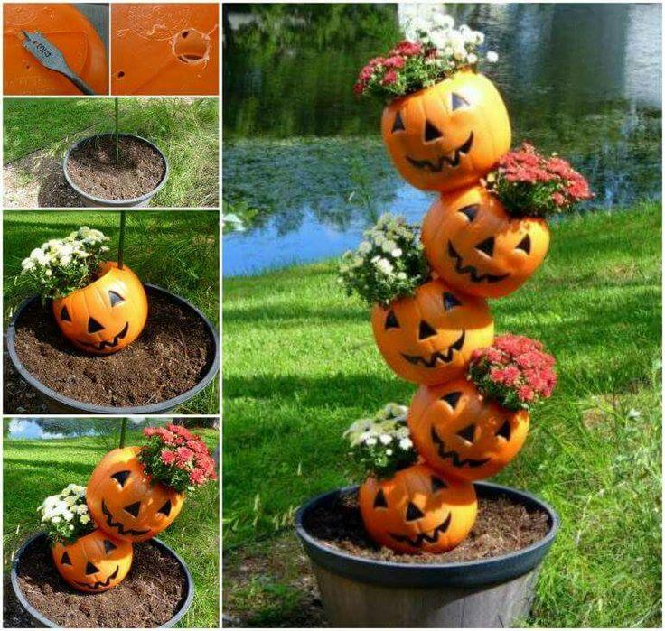 Cool halloween idea fall pinterest pumpkins planters and pumpkin flower - Halloween fensterdeko ...