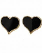 Black Heart Style Beading Stud Earring