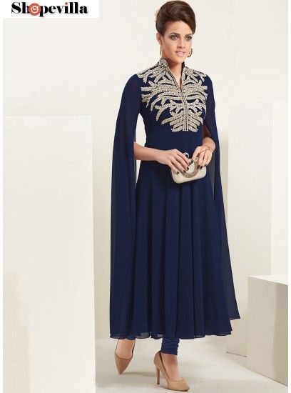 Dignified Embroidered Work Navy Blue Georgette Party Wear Kurti-8019