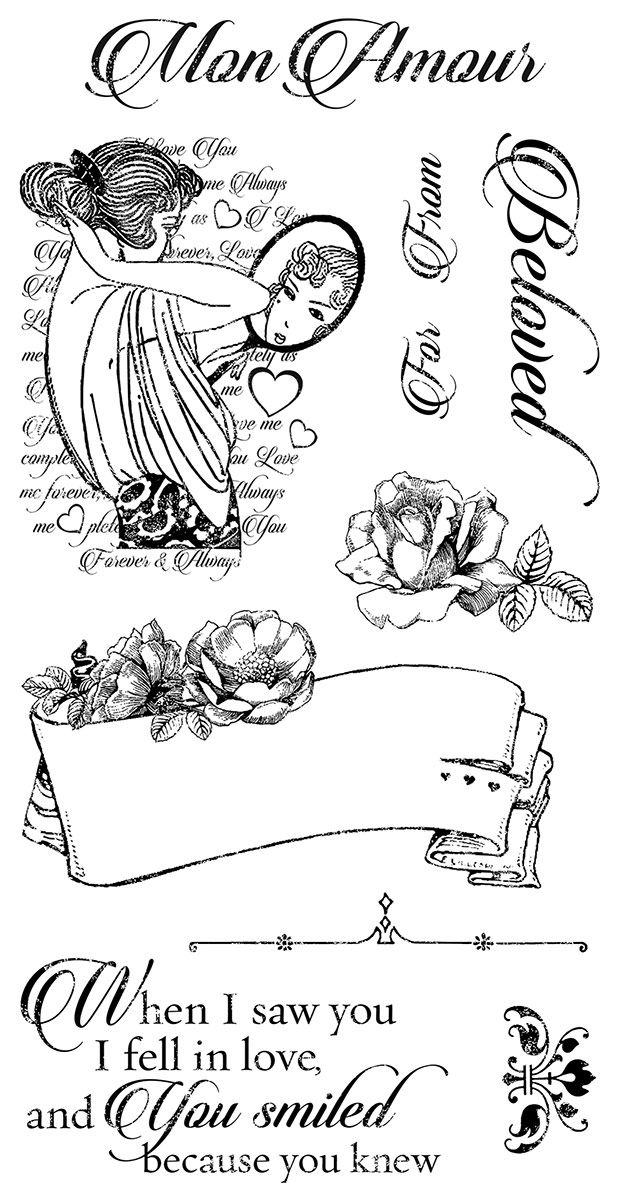 Graphic 45 - Mon Amour Collection - Cling Stamps 1