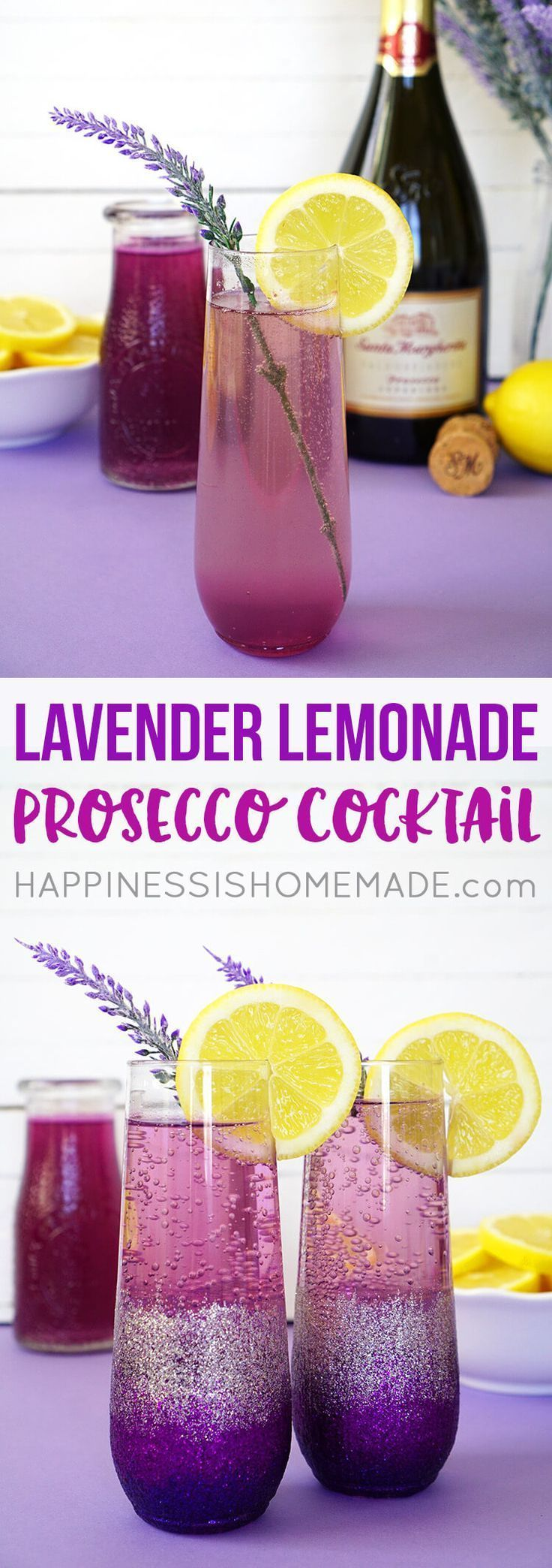 Lavender Lemonade Prosecco Cocktails + DIY Ombre Glitter Champagne Glasses are the perfect pair for a Sunday Brunch with your favorite girlfriends! - Get the Prosecco cocktail recipe and the full how-to glitter glasses tutorial details @hiHomemadeBlog #