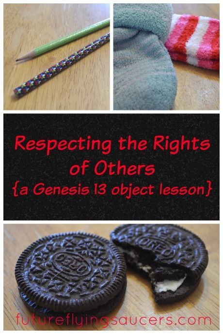 Use simple objects such as socks and cookies to teach children about respecting the rights of others. What does the Bible say about our rights? {Growing in Godliness Series} ~ futureflyingsaucers.com