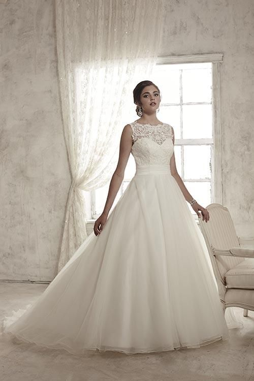 Balletts Bridal - 22867 - Wedding Gown by Jacquelin Bridals Canada - Illusion High Neckline. Sparkle Lace Baby sequin Bodice. Pleated Tulle Waist and Tulle Skirt with cutout back