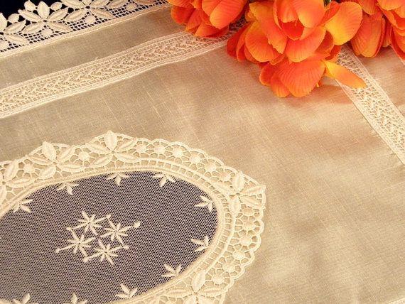 Napkin Handkerchief Silk with lace AC-04 by ClassyInteriorsDeco