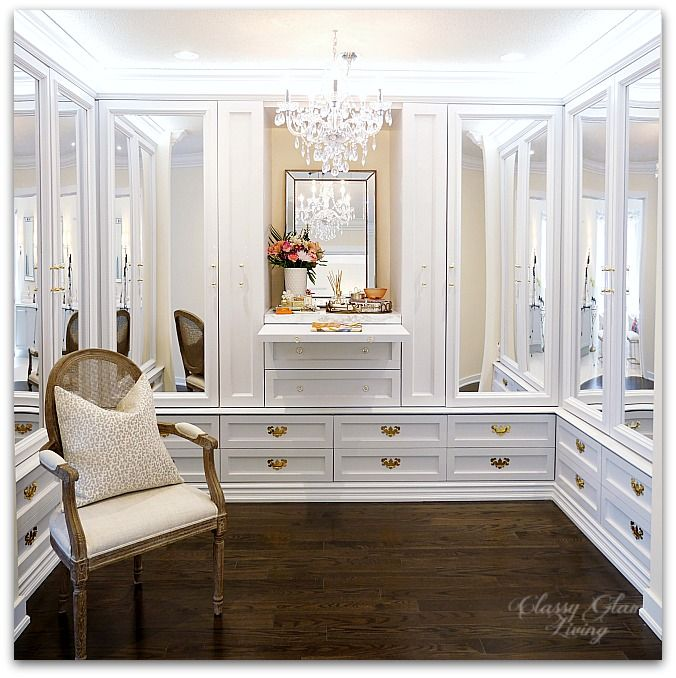DIY Custom Closet Dressing Room | Crystal chandelier, pull-out folding table | Classy Glam Living