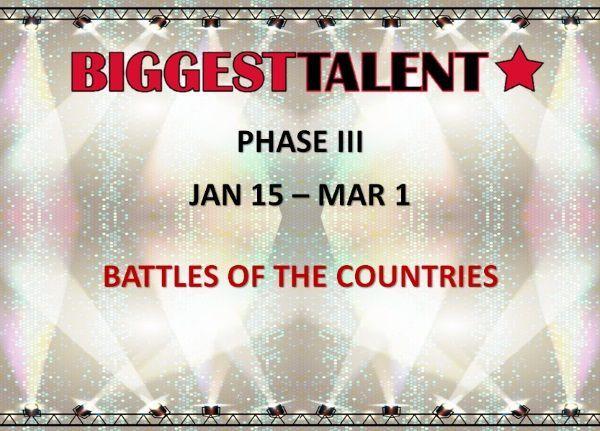 3. fáza BIGGEST TALENT: 15.1.-1.3.2016 - boj víťazných krajín a hľadanie 8 finalistov