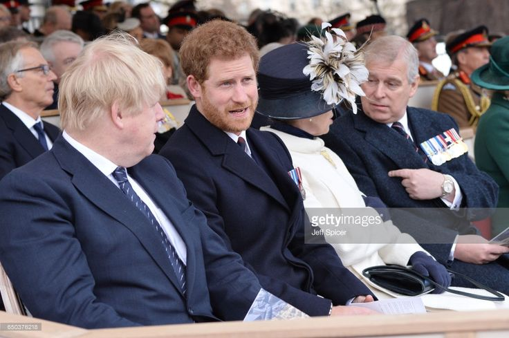 Boris Johnson, Prince Harry, Princess Anne, Princess Royal and Prince Andrew, Duke of York during the dedication service of The Iraq and Afghanistan memorial at Horse Guards Parade on March 9, 2017 in London, England.