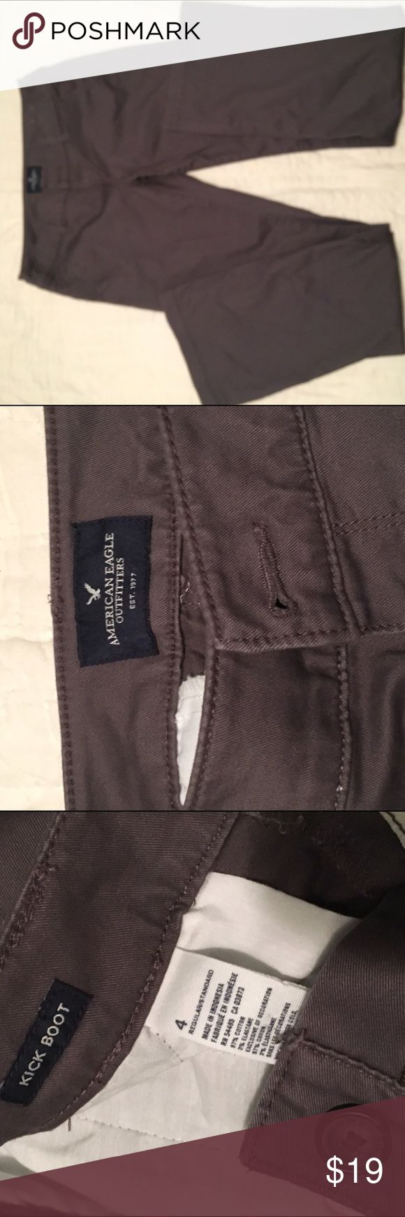 American Eagle Slate Grey Kick Boot Trousers Like new, slate grey American Eagle kick boot trousers, size 4. American Eagle Outfitters Pants Trousers